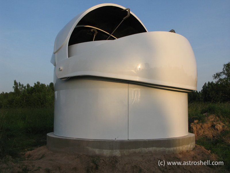 Astroshell clamshell observatory dome in Latvia