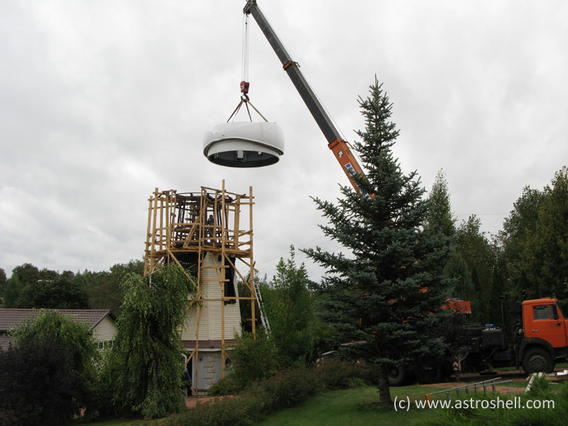 Installation Astroshell clamshell observatory telescope dome in Russia